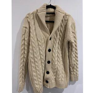 Cotton Fisherman Sweater, Shawl-Collar Cardigan